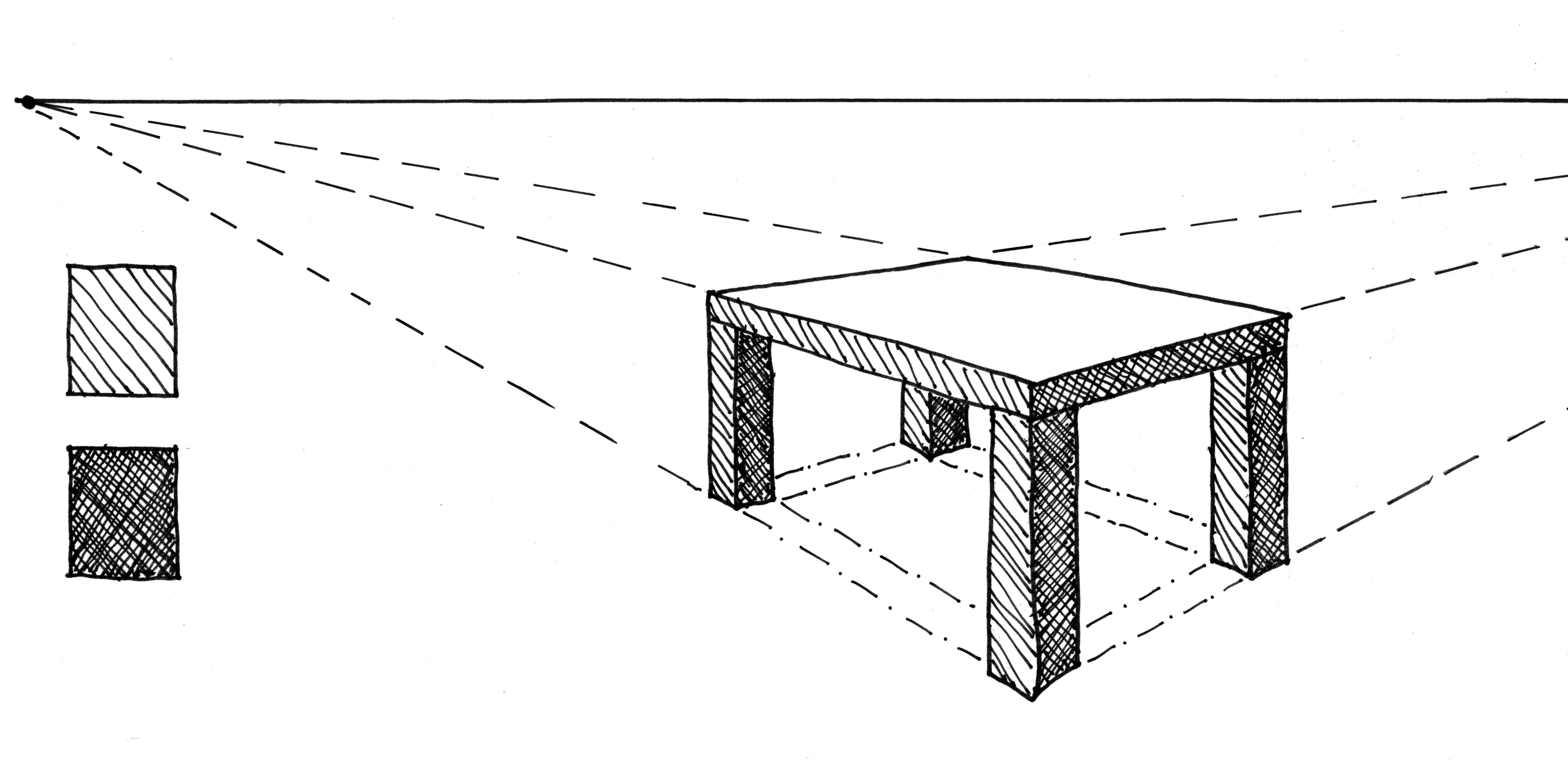 Drawn table Perspective 2 Drawing + Table