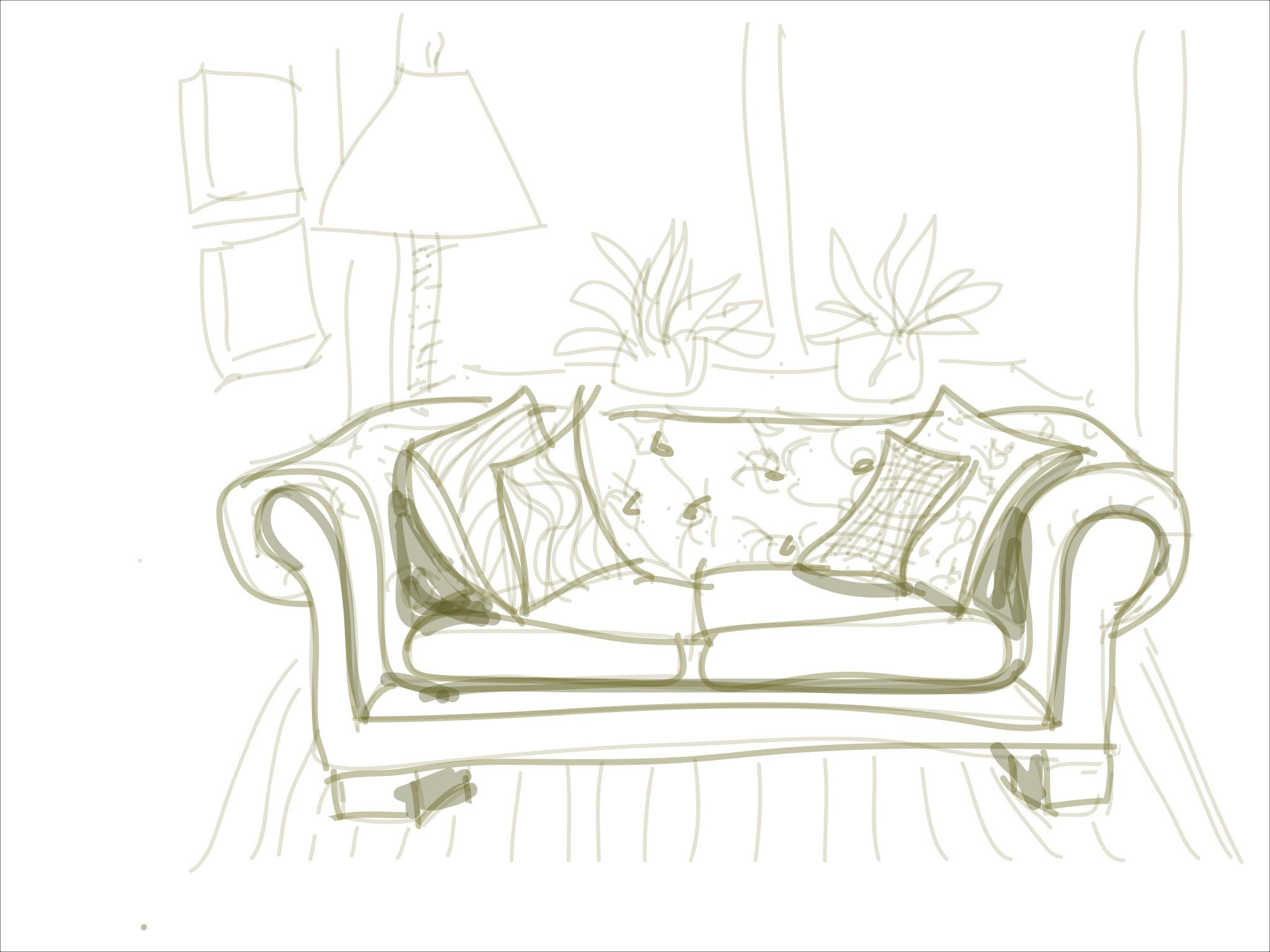Drawn couch Drawings  iPAD Steps iPAD