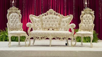 Drawn sofa stage design Indian Mandap HOME Wedding CARVED