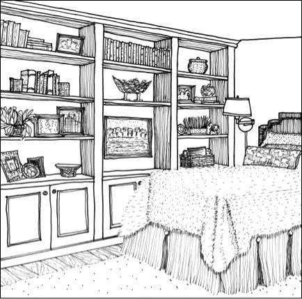 Drawn bookcase perspective Bedroom with Interiors Rendering Hand