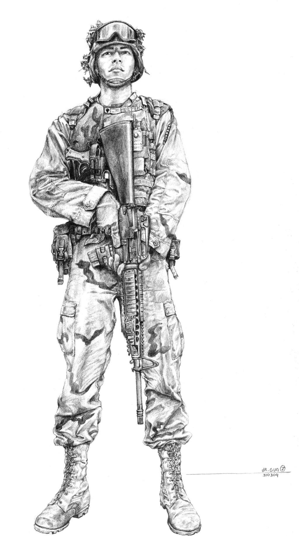 Drawn soldier at ease Soldier Realistic Images Quality Art