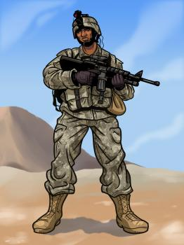 Drawn soldier at ease  FREE Step How to