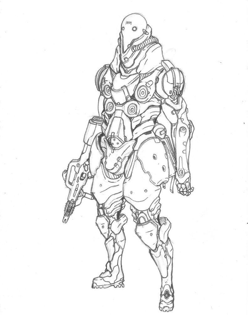 Drawn soldier futuristic Soldier future Soldier Enemy concept
