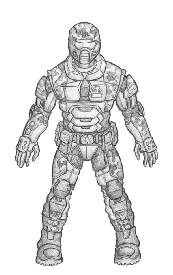 Drawn armor light Suldae by by military Futuristic