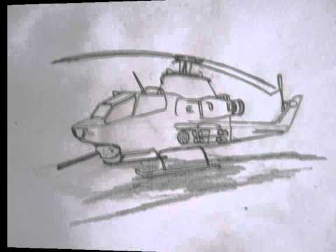 Drawn helicopter attack helicopter How 1 draw Cobra Ah
