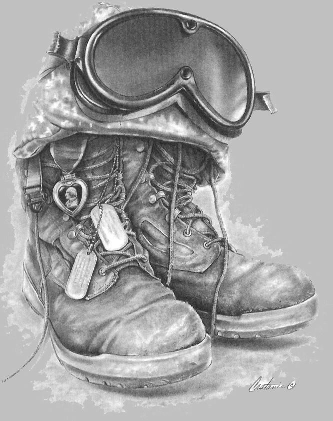 Drawn boots army Memorial on A Heart Art