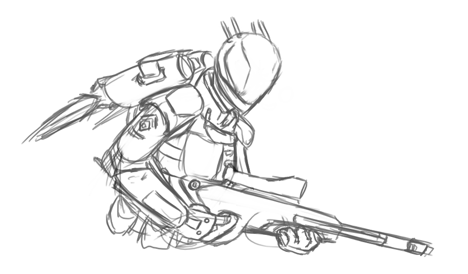 Drawn soldier futuristic Sketch quick futuristic : A
