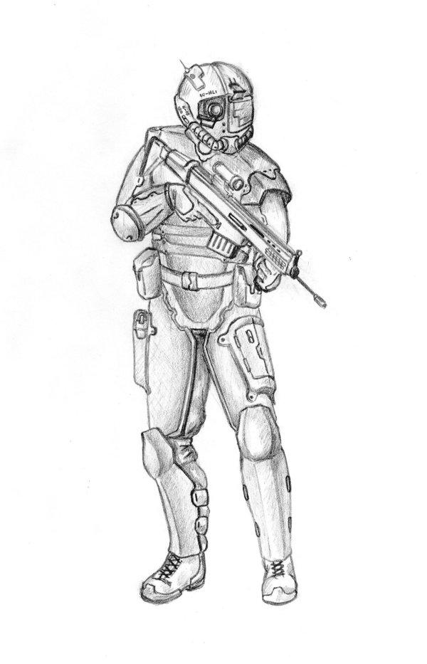 Drawn soldier futuristic Stock Soldier Shutterstock Futuristic Illustration