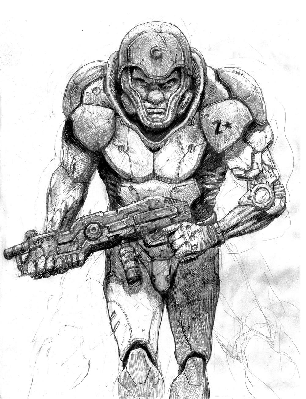 Drawn soldier futuristic Soldier futuristic