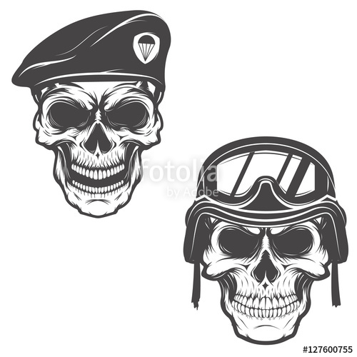 Drawn soldier skull logo In military beret in for