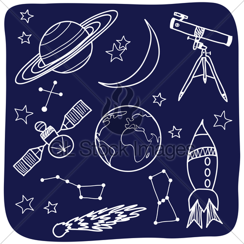 Drawn space Astronomical Astronomy Il Drawing Stock