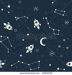 Drawn space background kid Pattern Seamless Cartoon Cartoon stars