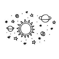 Drawn space cute Planets >  white for