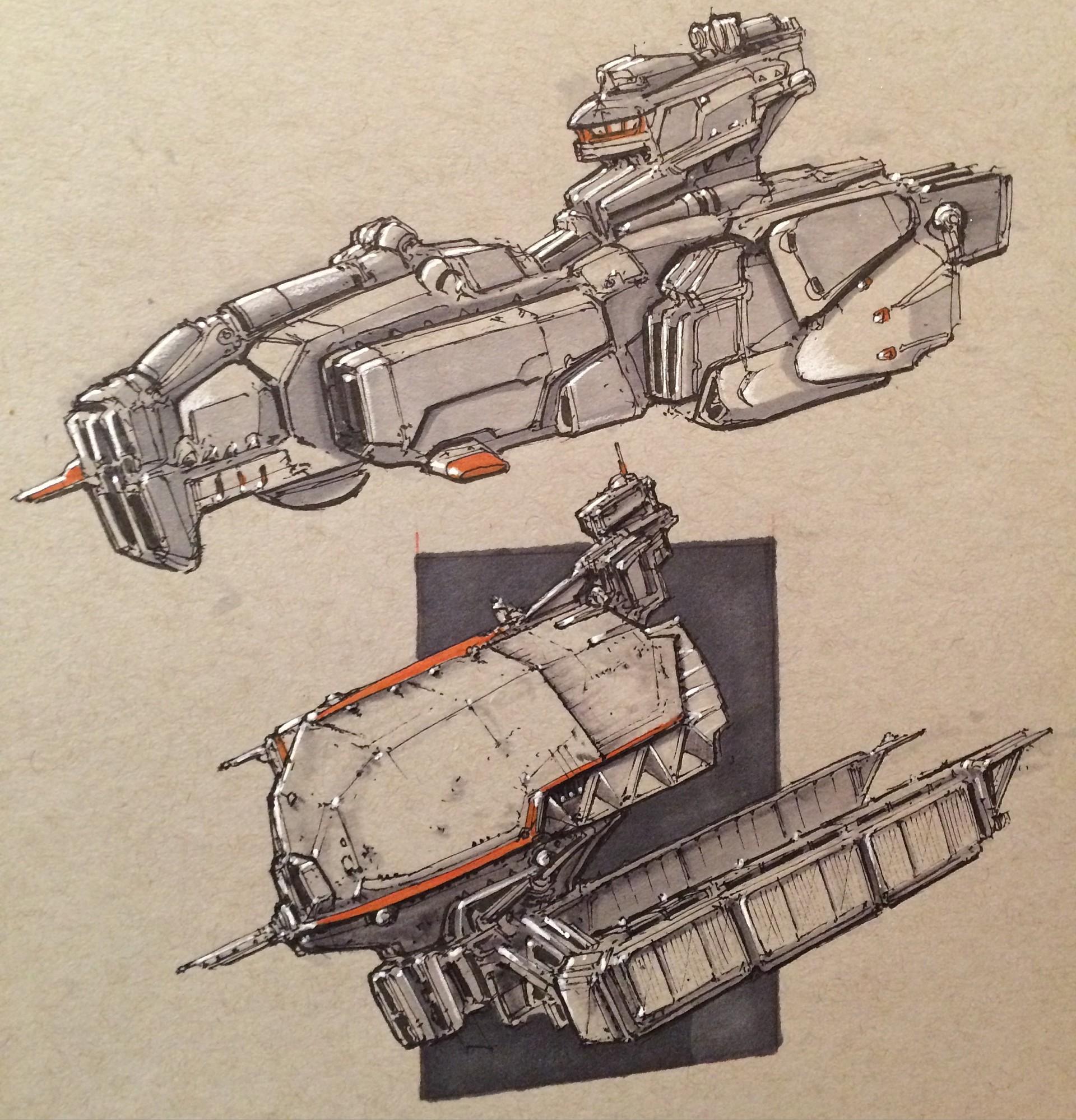 Drawn spaceship junker  Sketches Virnard Virnard corvettes
