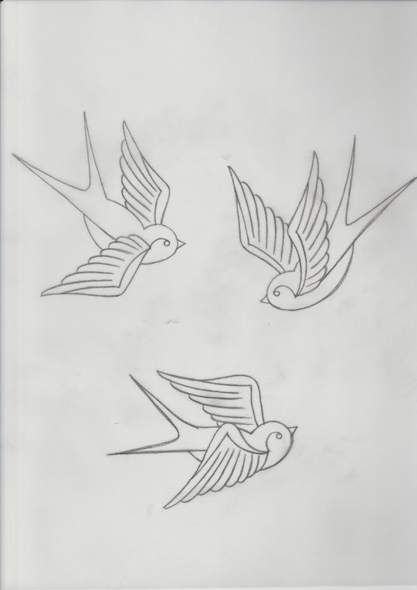 Drawn swallow Three in to swallows Swallows