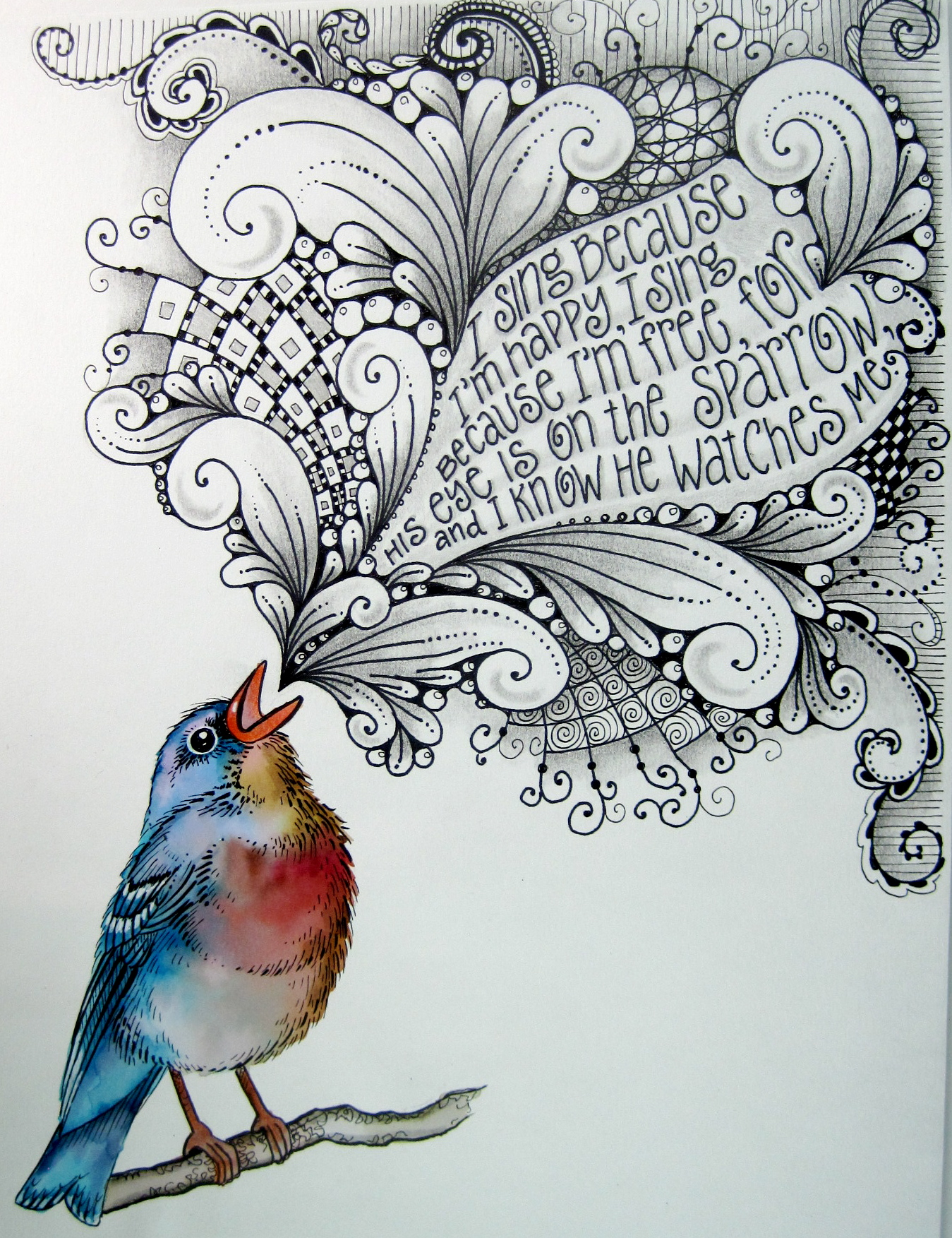 Drawn sparrow love Sing I sing because happy