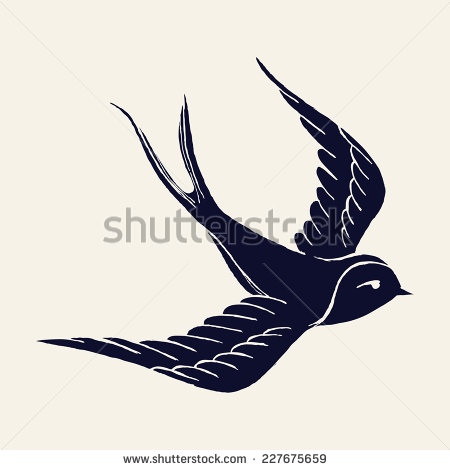 Drawn sparrow detailed Flying pen illustration  silhouette