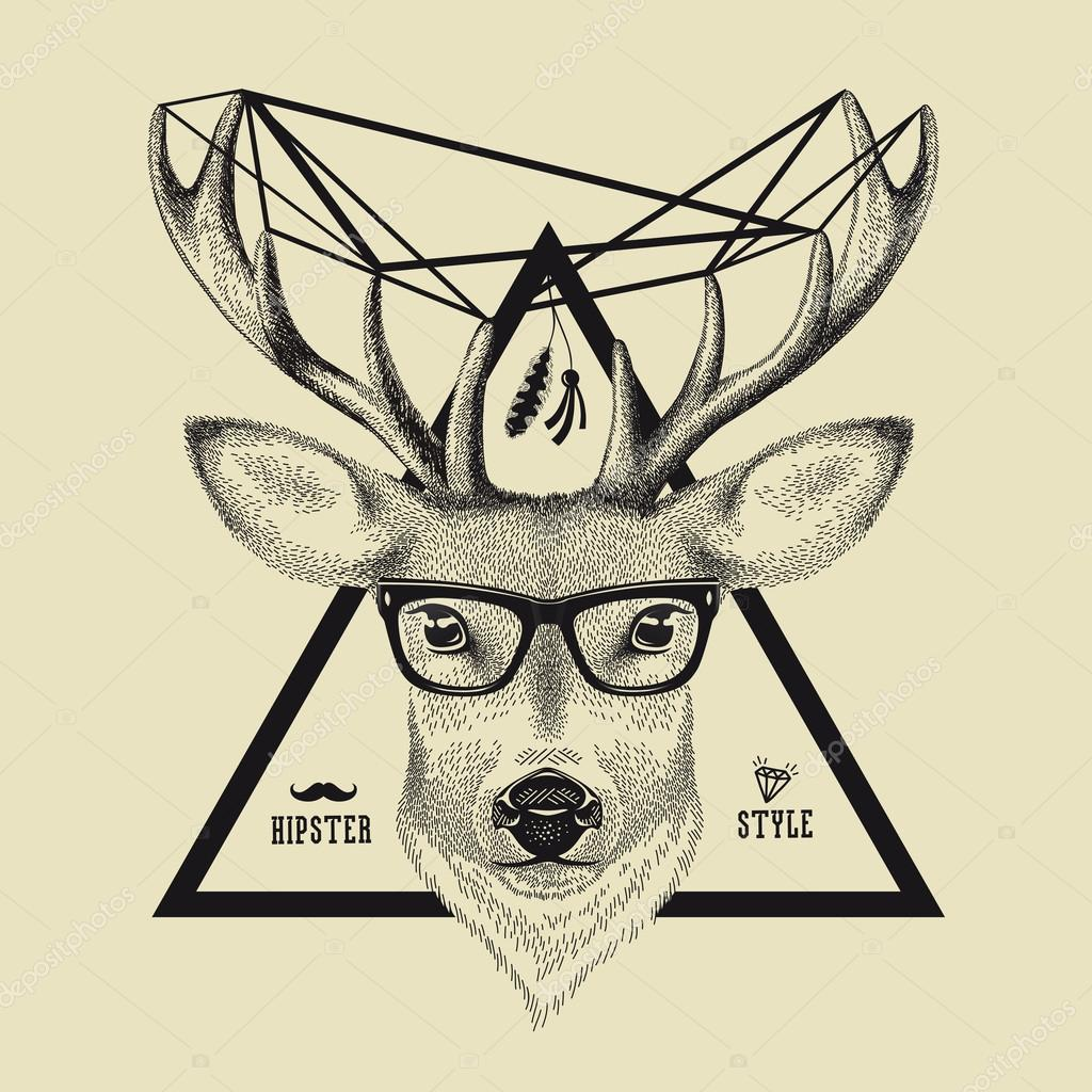 Drawn spectacles hipster Head of style hipster of