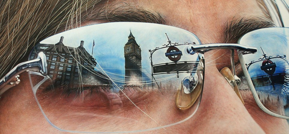 Drawn spectacles mirror reflection Mind paintings work of question