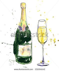 Drawn spectacles wine bottle Champagne lights Pinterest BottlesChampagne Glass