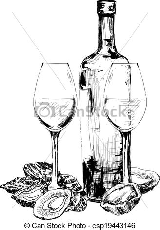 Drawn spectacles wine bottle Bottle and of EPS wine
