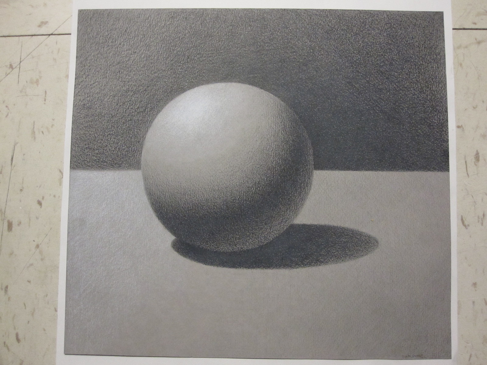 Drawn sphere White Sphere hand paper grey