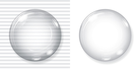 Drawn sphere empty glass And opaque with Graphic glass
