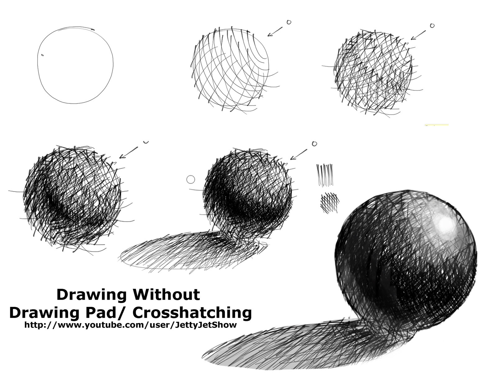 Drawn spheric chiaroscuro Hatch sphere in sphere on