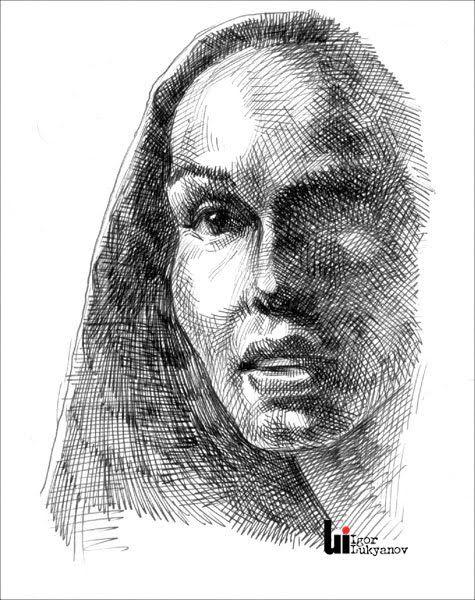 Drawn portrait cross hatching Portrait by drawings woman on