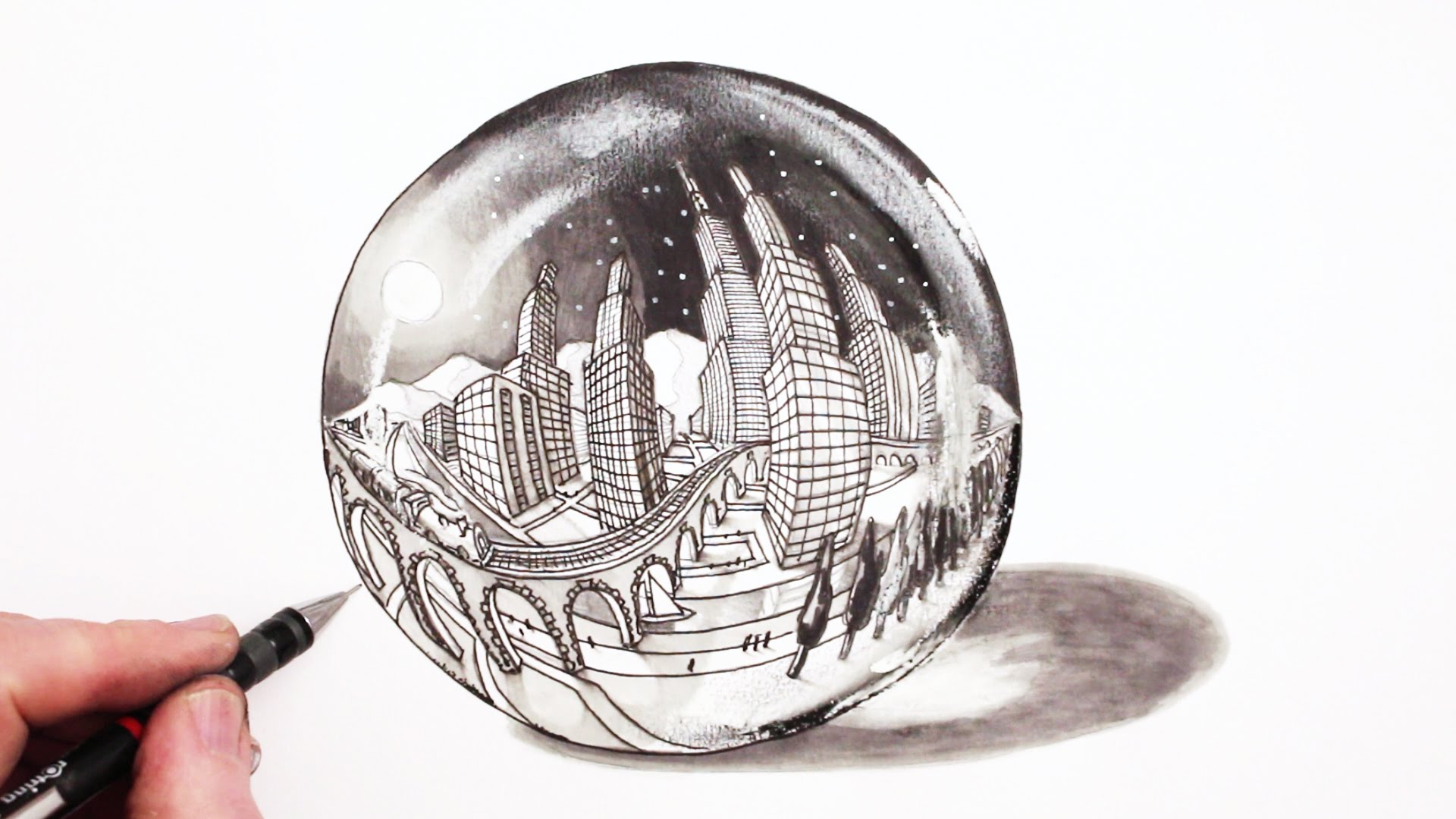 Drawn spheric crystal ball YouTube to 5 in City