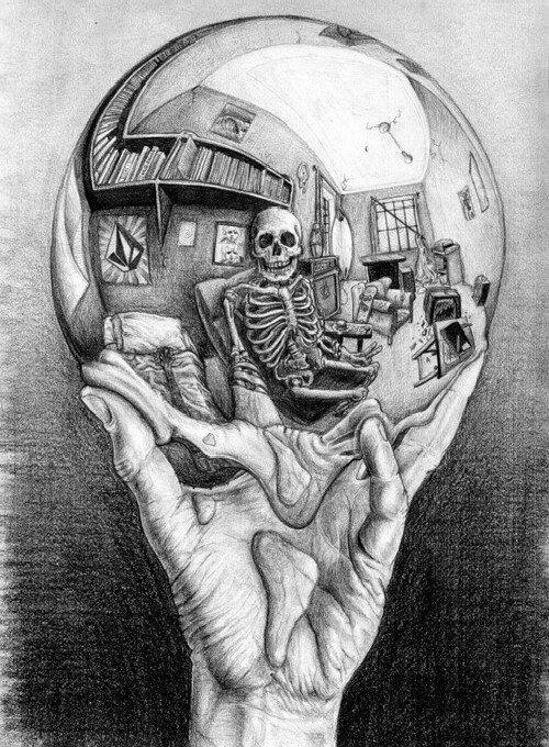 Drawn m.c.escher skeleton #1