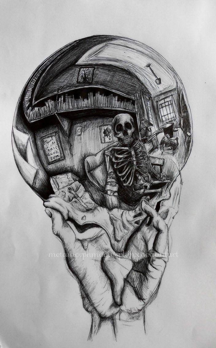 Drawn m.c.escher skeleton #2