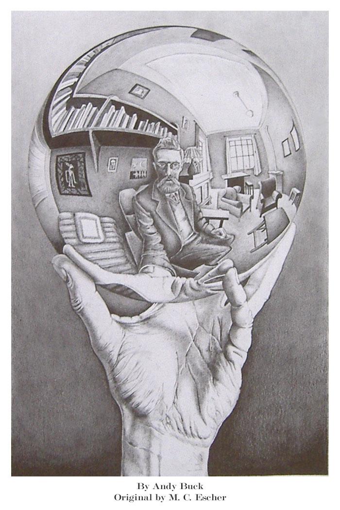 Drawn spheric escher Sphere and Eschers on AndyBuck