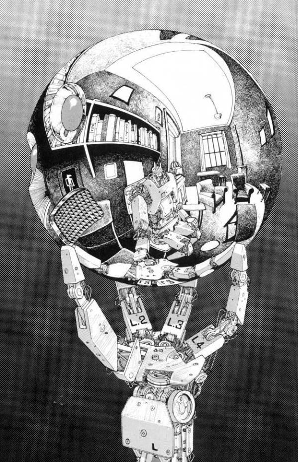Drawn spheric escher Sphere: Reflecting Robot illustration Remake