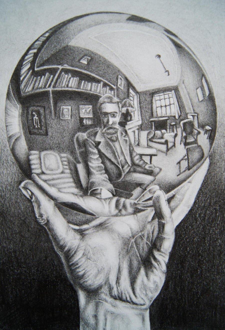Drawn spheric escher Escher by Reflecting Sphere by