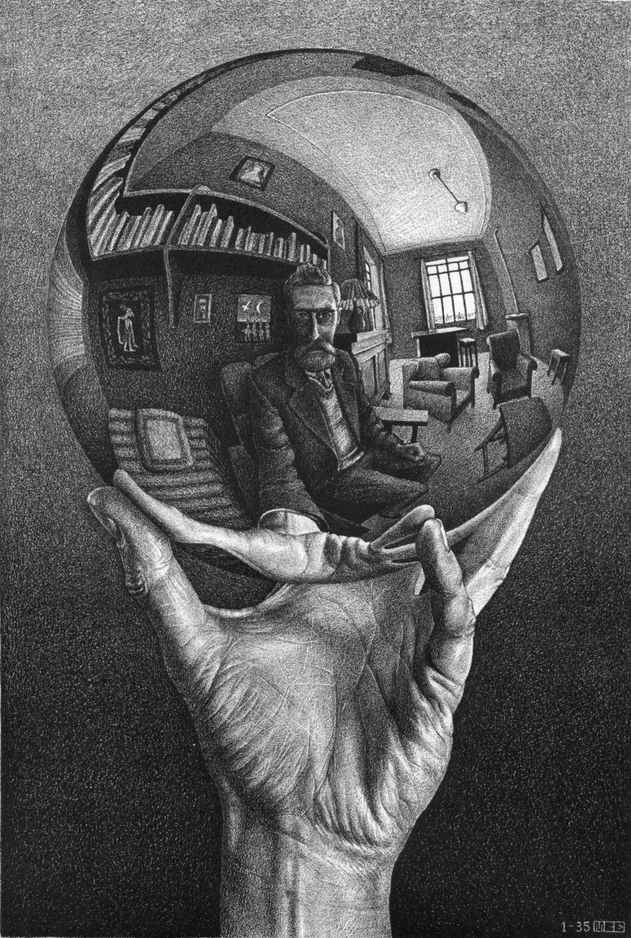 Drawn spheric escher Hand With sphere M Escher