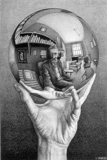 Drawn spheric hand holding Escher Reflecting  Hand by