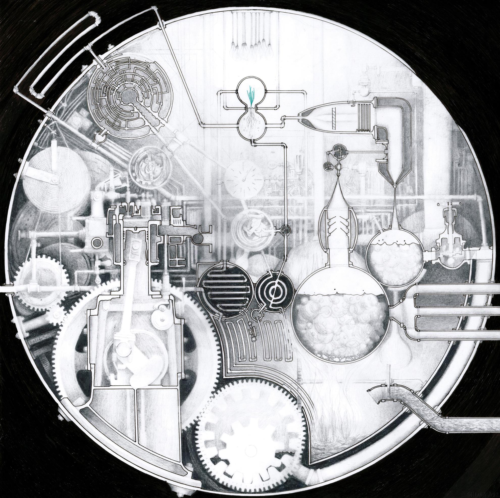 Drawn spheric ink Shima Vessel 12