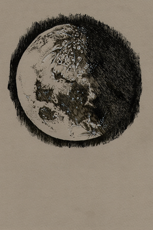 Drawn spheric ink Project: well i the Moon