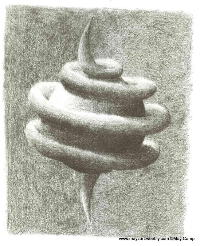 Drawn spheric orb Sphere to Spiral Enlarge Mayzart