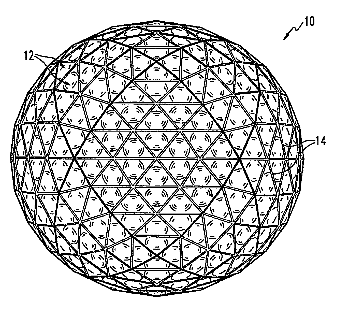 Drawn spheric polygonal Golf Patent ball with dimples