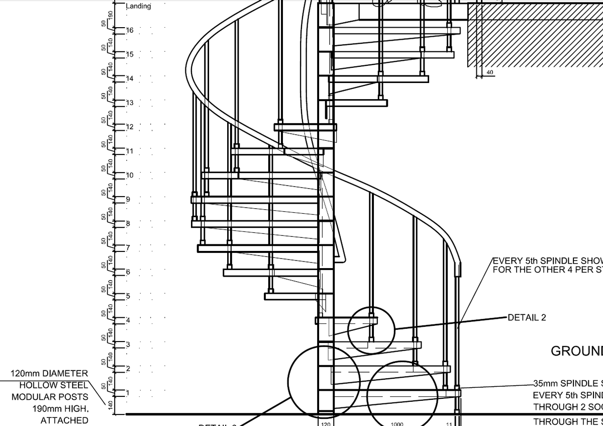 Drawn stairs detail drawing Detail Behance on  AutoCAD