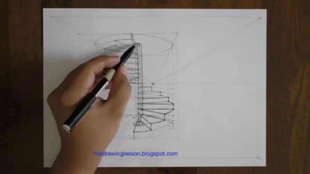 Drawn stairs detail drawing A to staircase draw how