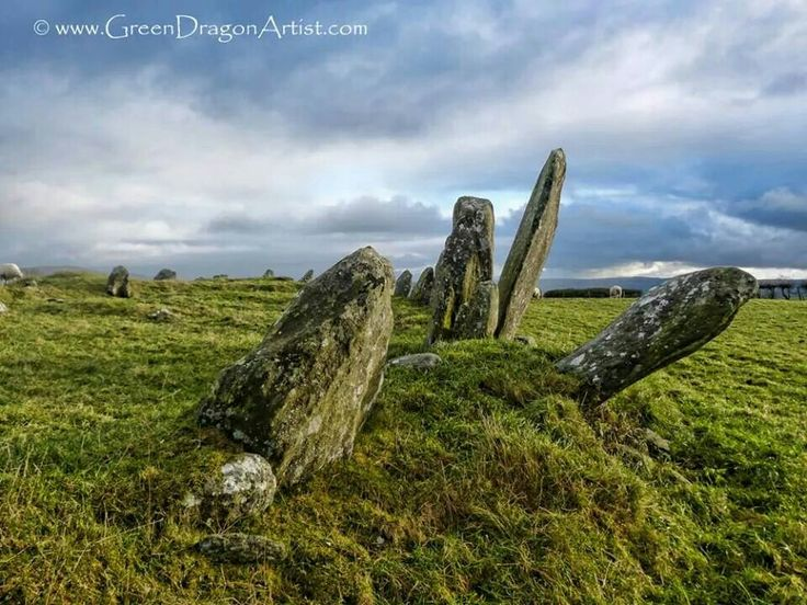 Drawn spheric stone circle Earth and Ireland Beltany County