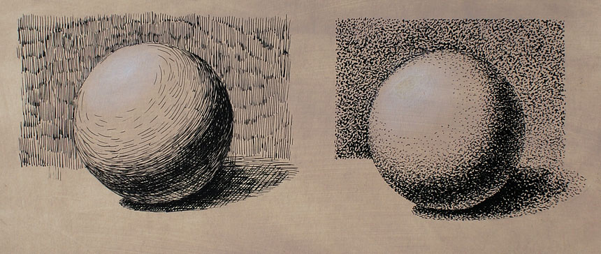 Drawn spheric tonal Drawing Lesson in Ink Drawing