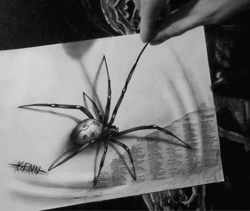 Drawn spider 3d art #11