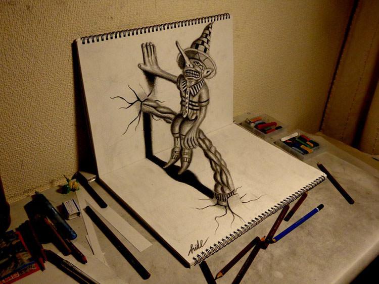 Drawn spider 3d design Premium Drawings & 3D Sketchbook