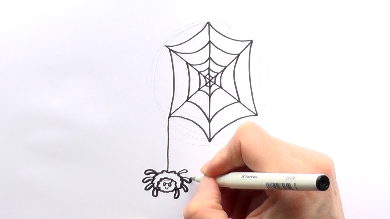 Drawn spider cartoon Web Hanging Draw a How