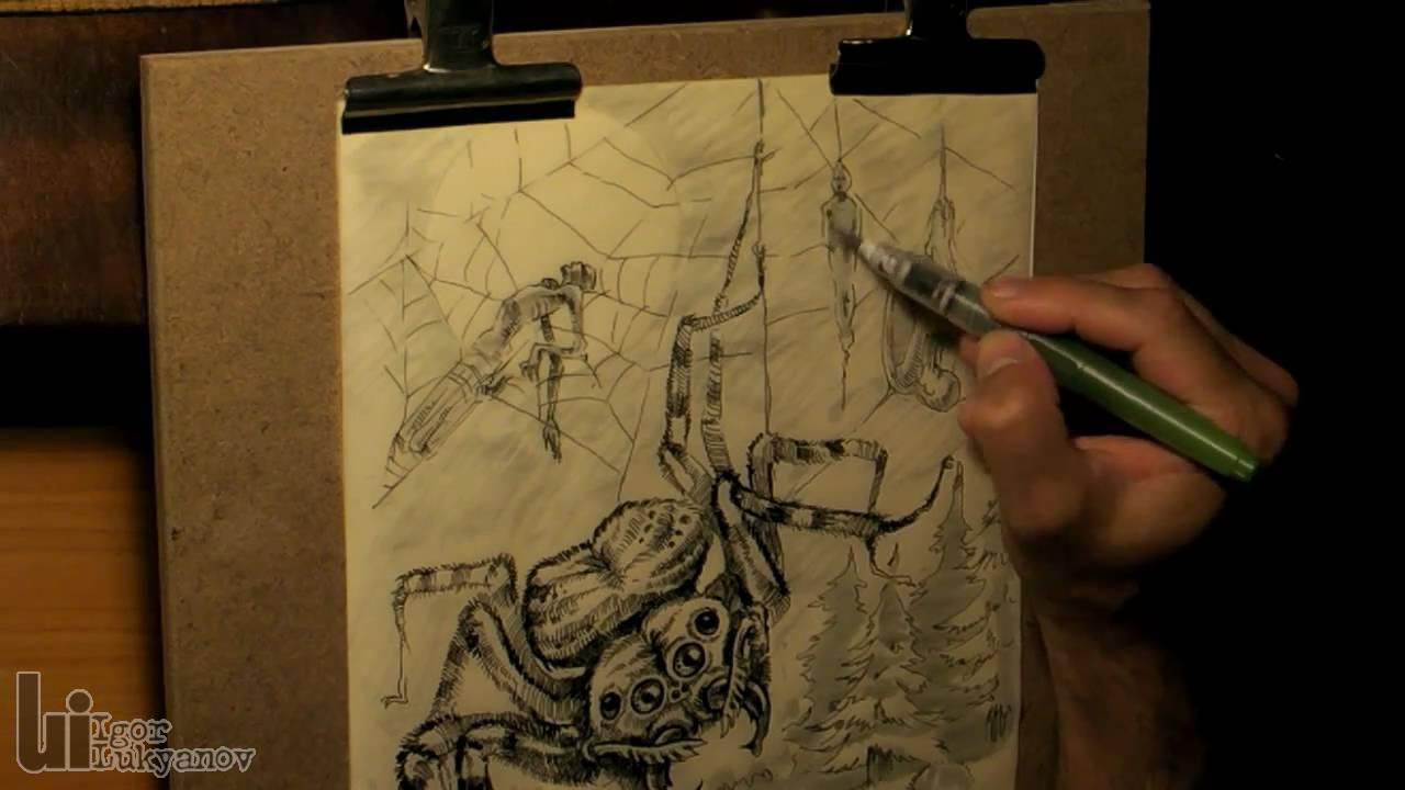 Drawn spider creepy spider Scary a (Fantasy Art) Scary