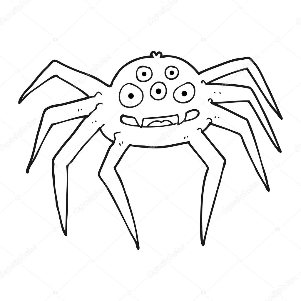 Drawn spider detailed  by spider Freehand and